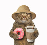 The cat in a straw hat is holding a cup of coffee and a pink frosted sprinkled donut. White background.