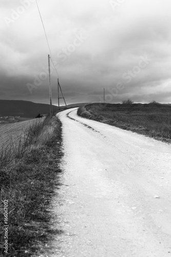 White country road, black and white natural landscape