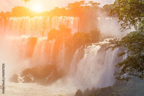 Poster Oranje eclat Beautiful landscape with views of the Iguazu Falls. Argentina.
