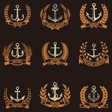 The Emblems  Anchors And Wreaths In Golden Style Design Elements For Logo Label Emblem Sign Badge  Illustration Sticker