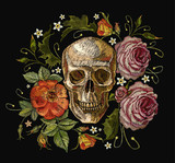 Embroidery skull and red roses. Dia de muertos, day of the death art. Gothic romanntic embroidery human skulls red roses and pink peonies, clothes template and t-shirt design vector art - 166072224