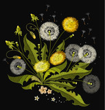 Dandelions embroidery. Beautiful dandelions, summer flowers, classical embroidery, template for clothes and textiles, t-shirt design - 166072225