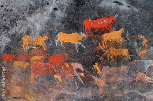 Bushmen (san) rock painting of antelopes, South Africa.