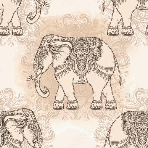 Beautiful hand-drawn tribal style elephant. Seamless pattern design, ornaments. Ethnic background, spiritual art, yoga. Indian god Ganesha,