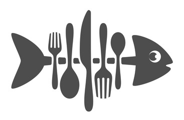 Cutlery fish on a white background