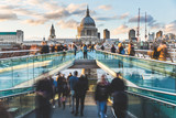 London and St Paul Cathedral with blurred people © william87