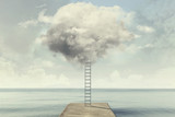 surreal ladder rises up into the sky in a silent sea landscape