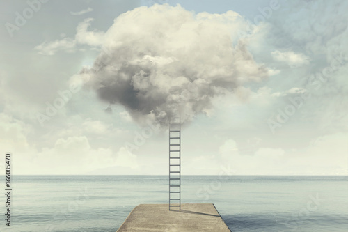 Foto op Aluminium Pier surreal ladder rises up into the sky in a silent sea landscape