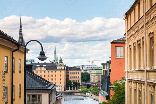 Staande foto Stockholm View over Riddarholmen from Södermalm) in Stockholm, Sweden