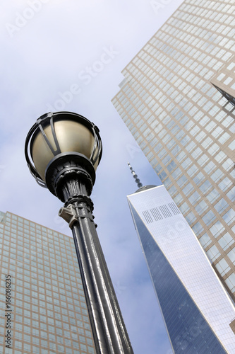 Street light in the  New York City Manhattan with One World Trade Center Poster