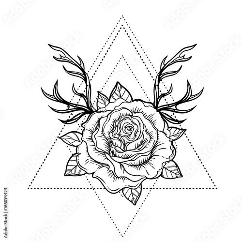 Fotobehang Hipster Hert All seeing eye symbol over rose flower and deer antlers. Sacred geometry. Tattoo flash. vector illustration isolated on white. Mystic symbol. New school. Boho design