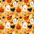 Halloween holiday seamless pattern background