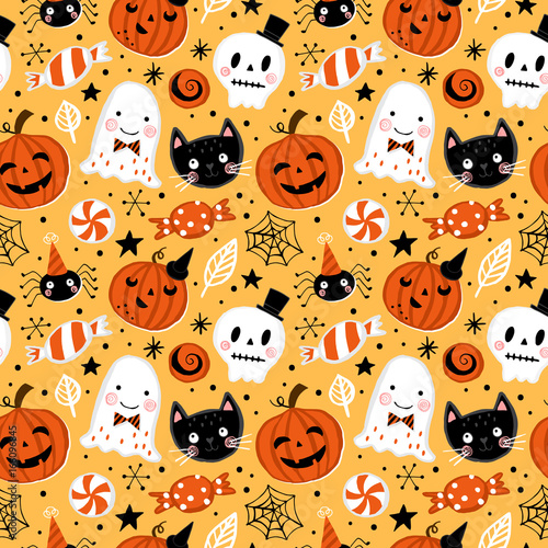 Cotton fabric Halloween holiday seamless pattern background