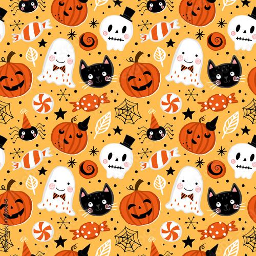 Materiał do szycia Halloween holiday seamless pattern background