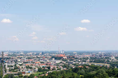 View on the Krakow from Kosciuszko mound (Poland)