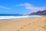 Creek, beach, mountains, , Fuerteventura, Canary Islands, Spain