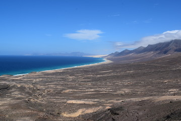 Creek, beach, mountains, Fuerteventura, Canary Islands, Spain