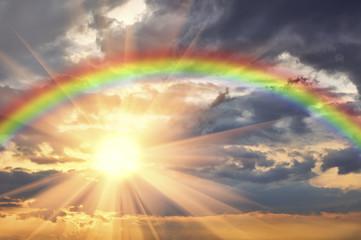 Rainbow in the beautiful sky