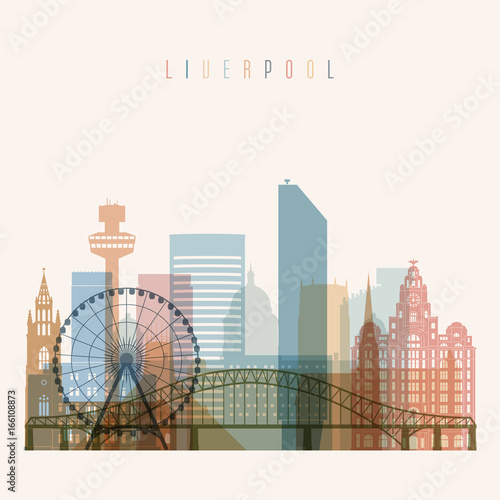 Liverpool skyline detailed silhouette. Transparent style. Trendy vector illustration.