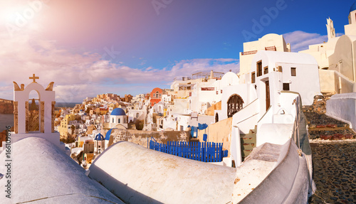 White houses in the town of Oia on the island of Santorini