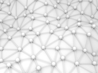 Abstract White Chaotic Spheres Particles Background