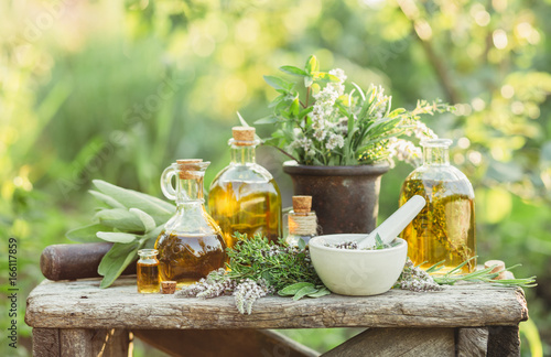 Medicinal plants and oils for massage - 166117859