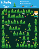 Activity page for kids. Educational children game. Animals theme with maze