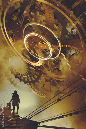 steampunk scenery of man standing against many big golden gears, digital art style, illustration painting © grandfailure