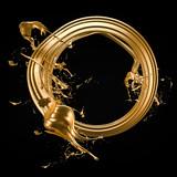 A splash of gold. 3d illustration, 3d rendering.