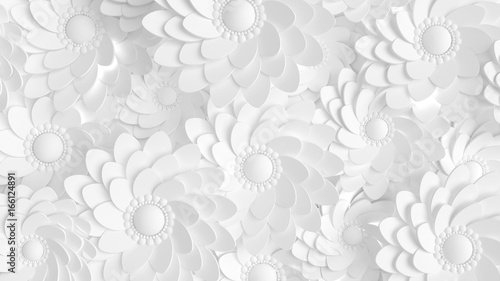 Beautiful, elegant paper flower in the style of hand-made on a white wall. 3d illustration, 3d ..rendering. - 166124891