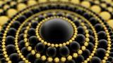 Czarno-złote tło z kulek. Ilustracja 3D