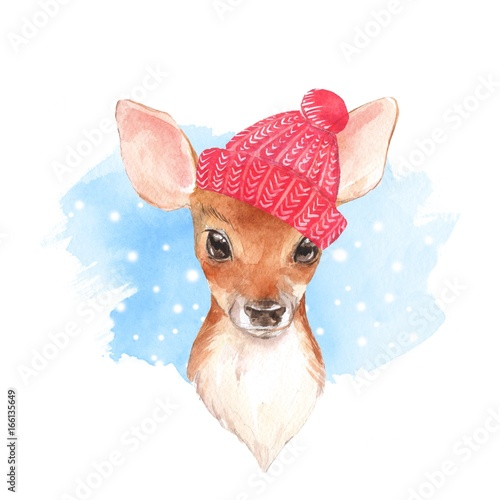 Baby Deer, hat. Hand drawn cute fawn. Watercolor illustration - 166135649