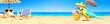 Leinwandbild Motiv Papagei als Paradiesvogel am Strand - Urlaub Konzept