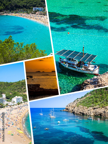 Collage of island Ibiza, Spain. Europe .