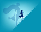 Businesswoman and stairway to success. Concept business vector illustration. - 166152053