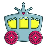 Princess Carriage Icon Cartoon Style Wall Sticker