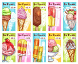 Ice cream vector price cards for fresh desserts - 166155679