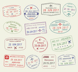 Fototapety Vector icons of city passport stamps world travel