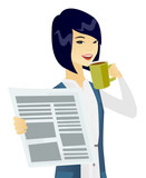 Asian woman drinking coffee and reading newspaper.