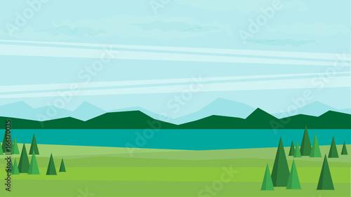 Foto op Aluminium Boerderij Natural landscape. Vector illustration.