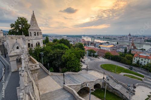 Halaszbastya Fisherman Bastion and Budapest city skyline, Budapest, Hungary
