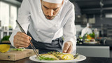 Famous Chef Decorates His Special Fish Dish with Some Greens. He Works in a Modern Kitchen. - 166180007