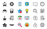 Petrol or Gas station services icons. Automated car wash signs. Hotdog sandwich and hot coffee cup symbols. Chat, Report and Calendar signs. Stars, Statistics and Download icons. Vector