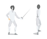 Isolated fencing athlete.