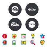 Public transport icons. Taxi speech bubble signs. Car transport symbol. Calendar, Information and Download signs. Stars, Award and Book icons. Light bulb, Shield and Search. Vector