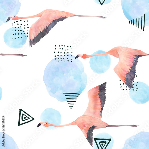 Abstract print with watercolor random elements and flamingo. Seamless pattern in retro style. Hand drawn  illustration - 166187449