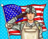 Amerykański żołnierz na tle flagi - pop art