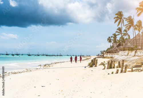 picturesque landscape with ocean beach and african village and palms - 166194449