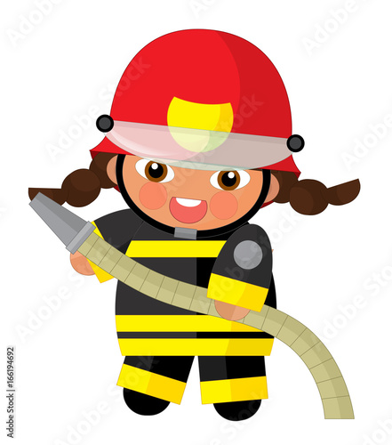 cartoon character - fireman girl smiling and working - illustration for children - 166194692