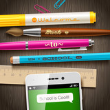 Back to school greeting - vector illustration with smartphone and stationery items